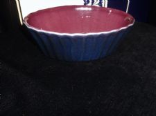 USEFUL SIZE UNUSUAL NAVY & PURPLE GLAZED INDIVIDUAL PIE DISH FLUTED OUTER 6.5""